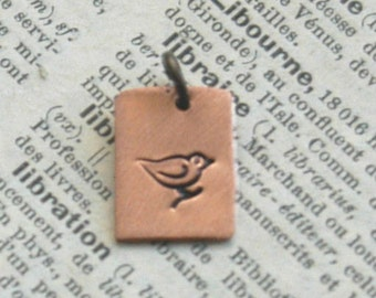 Hand Stamped Rectangle Mama Bird Charm - Copper Or Silver Create Your Own By Inspired Jewelry Designs