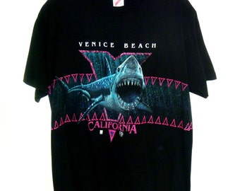 Vintage 90's Radical Great White Shark Graphic T-Shirt with Neon Accents Men's Large