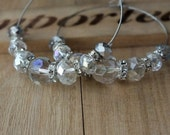 Bridal Swarovski Crystal Hoop Earrings, Pretty Earrings, Silver Plated Hoops