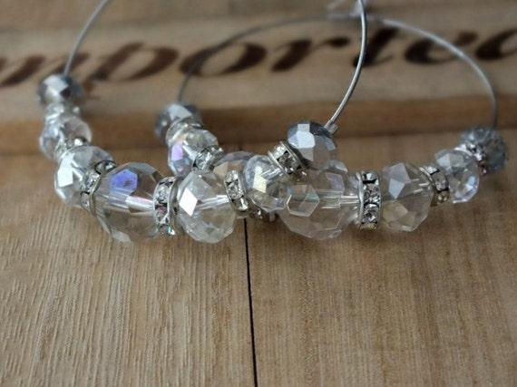 Bridal Swarovski Crystal Hoop Earrings, Pretty Earrings, Silver Plated Hoops