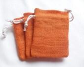 "50 Orange Burlap bags 3"" X 4"" for candles handmade soap wedding"