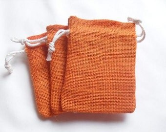"50 Orange Burlap bags 3"" X 4"" for candles handmade soap wedding"