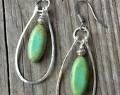 Turquoise Silver Hammered Hoop Earrings Rustic Antiqued Silver Jewelry E002