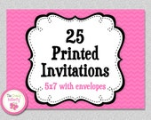 25 PRINTED INVITATIONS - 5x7 Invitations with Envelopes , SHIPS within 1-2 days by The Trendy Butterfly