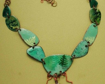 Natural Whimsey enameled copper Necklace
