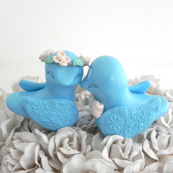 blue love birds wedding cake topper items similar to birds wedding cake topper baby blue 11994