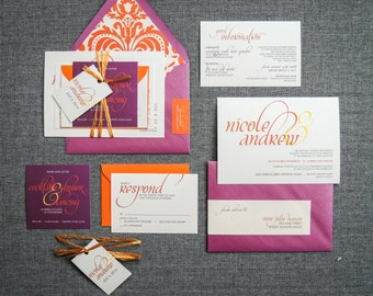 Modern Wedding Invitations, Wedding Invitation, Purple and Orange Invitations, Dramatic Script - Flat Panel, No Layers, v3 - DEPOSIT