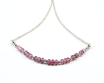 Purple Spinel Sterling Silver Micro Necklace - N718