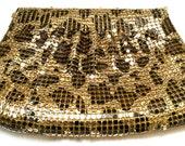 BOLD Leopard Black Gold Mesh Bag Disco Dance Night Out Shoulder Bag Authentic Vintage Glamour Clutch Chain Strap Purse talkingfashion 80s