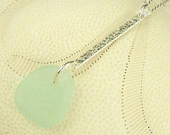 Modern Jewelry Minimalist Silver Aqua Sea Glass Necklace