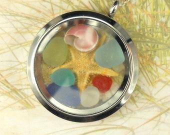 Ocean Memory Locket GENUINE Sea Glass Necklace RARE Eco Friendly Sea Glass Locket Beach Locket Beach Necklace