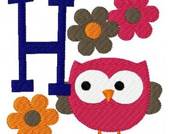 Owl with Fall Flowers Machine Embroidery Monogram Font Design Set // Joyful Stitches