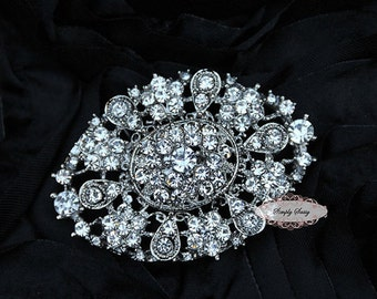 Rhinestone Brooch Embellishment- Flatback Rhinestone Brooch - DIY - Wedding - Wedding Jewelry Supply - Brooch Bouquet Supply RD238