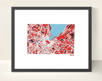 Geneva Switzerland City Map - Original Illustration