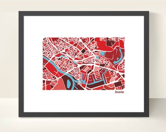 Deventer The Netherlands City Map - Original Illustration Print
