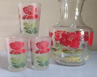 Anchor Hocking Rose Juice Carafe and Three Juice Glasses / Vintage Kitchen / Juice Jar / Juice Glass / kisvteam / Red Rose / Glass Set