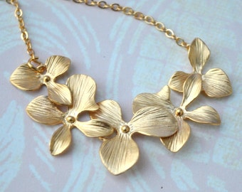 Orchid Necklace Flowers in 14K Gold plate Cascade Bride Bridemaid gift Bridemaid jewelry