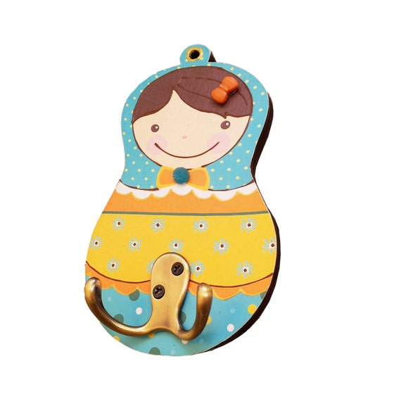 """Matryoshka Hook, Peg Rack for Nursery, Girls and Children Rooms, Yellow and Blue - """"Sonia"""" Model"""