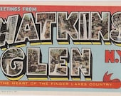 Large Letter Watkins Glen New York NY - Vintage Linen Postcard  - Finger Lakes Collectible
