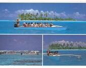 Bora Bora French Polynesia Outrigger Canoe Promenade Retro Postcard Souvenir from the 1980's Tourists Having Fun Pacific Ocean Blue