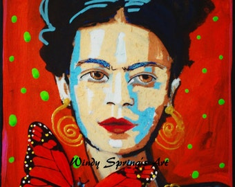Frida Kahlo Butterfly by Spring 12x16 Fine Art Canvas Giclee Print Mexican Folk Art with Hand Painted Touches