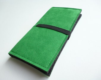 Smartphone wallet Charcoal/Green handmade to fit iPhone 6, LG G3,  HTC One, Samsung Galaxy, Sony Xperia, Nokia, Blackberry Z10