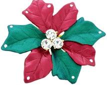 Red Christmas Star Poinsettia Crystal Christmas Pin Brooch 1012602