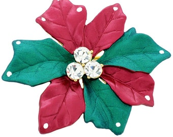 Red Christmas Star Poinsettia Crystal Christmas Pin Brooch 1012602