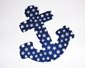 Iron On Fabric Applique Royal Blue And White Stars ANCHOR