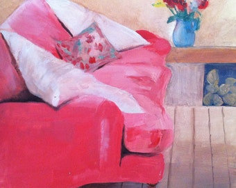PINK VELVET - pink velvet couch, pink painting