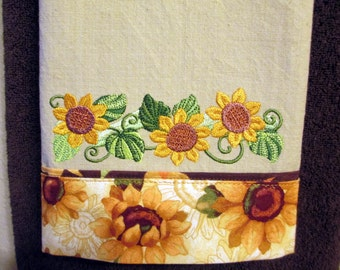 Sunflowers and Swirls Embroidered and Personalized Kitchen Floursack  Fingertip Tea Towel