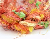 Large Art Fiber Bundle - Curry, 26 Yards of Novelty Yarns, Orange, Yellow
