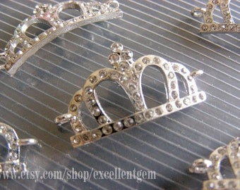 CLEARANCE PRICE-10pcs Silver plated with clear Cyrstal Rhinestones,Imperial crown, Curved Bracelet Connector,pendant