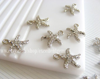 Starfish charms, 10pcs silver plated,clear rhinestone charms,Pendant 13*15mm