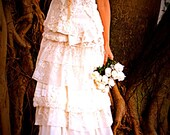 Bride on a budget Reclaimed Ivory or White Wedding Gown Layers of Vintage Lace, Silk, Tulle, Netting, Hankies, Rosettes