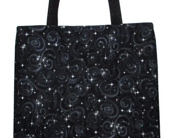 Celestial Silver Starbursts on Black Carryall Tote Bag