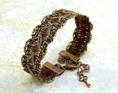 Brown trim bracelet  - Rich warm brown ribbon bracelet with copper and brass accents - Brown Bracelet -  Ribbon Jewelry