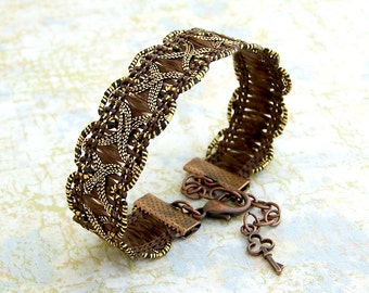 Brown trim bracelet  - Rich warm brown ribbon bracelet with copper and brass accents - Brown Bracelet -  Ribbon Jewelry