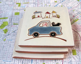 """Blue Pickup Truck and Guy with his Black Dog go for a drive handmade ceramic tile, coaster or wall hanging 4"""" x 4"""""""