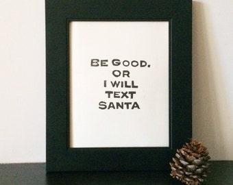 Linocut Holiday Decorations House Rules for Santa PRINT Linocut 8x10 printmaking