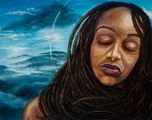 "A beautiful locked woman  in front of a cloud filled sky ""Still I Rise"" (original artwork)"
