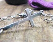 large sideways cross bracelet sterling silver hammered texture