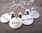 4 Name Brag Necklace in Sterling Silver  -  Great Gift for Mom or Grandma