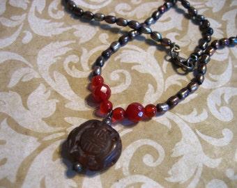 Vintage Baroque Pearl Carnelian w Soapstone Pendant Sterling Necklace