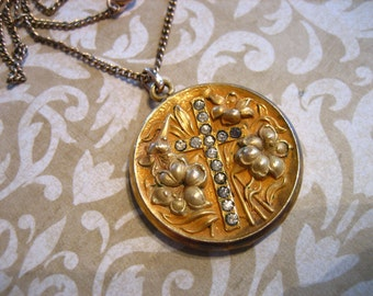 Antique Victorian Nouveau Repousse Mourning Locket with CROSS and Lilies