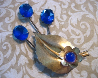Art Deco Sterling Silver Large Floral Bouquet Pin / Brooch with Blue Stones