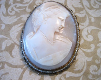 Antique LARGE Shell CAMEO Surrounded by Seed Beads Pendant or Brooch