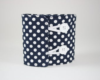 White Polka Dot Navy Blue Can Cozy Sleeve
