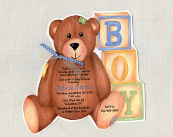 Personalized and Handcut Invitations - Baby Shower Party Invitations - Teddy Bear Invitation - Set of 10
