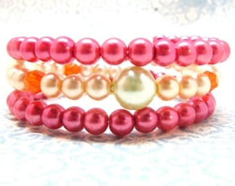 Bright Lime Green, Bright Hot Pink, and Bright Orange Pearl Beaded Memory Wire Bracelet, Pearl Bracelet, Wrap Bracelet